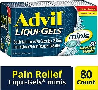 Advil Liqui-Gels Minis Pain Reliever/Fever Reducer Liquid Filled Capsule, 200mg Ibuprofen, Temporary Pain Relief (80 Count)