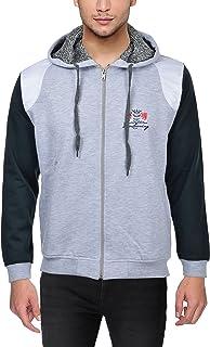 Louis Carlo Men's Sweatshirt, Fleece, Lightweight, Zip Front, Hooded (United Colors Light Grey, Dark Olive, White Leather ...
