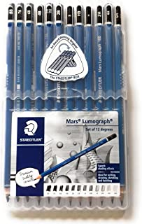 Wooden Lead Pencil By Staedtler Mars Lumograph - Pack of 12 Degrees in Practical Plastic Storage Box