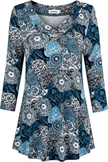 Ninedaily Women's Tops Long Sleeve Scoop Neck Floral Loose Dressy Tunic Blouse