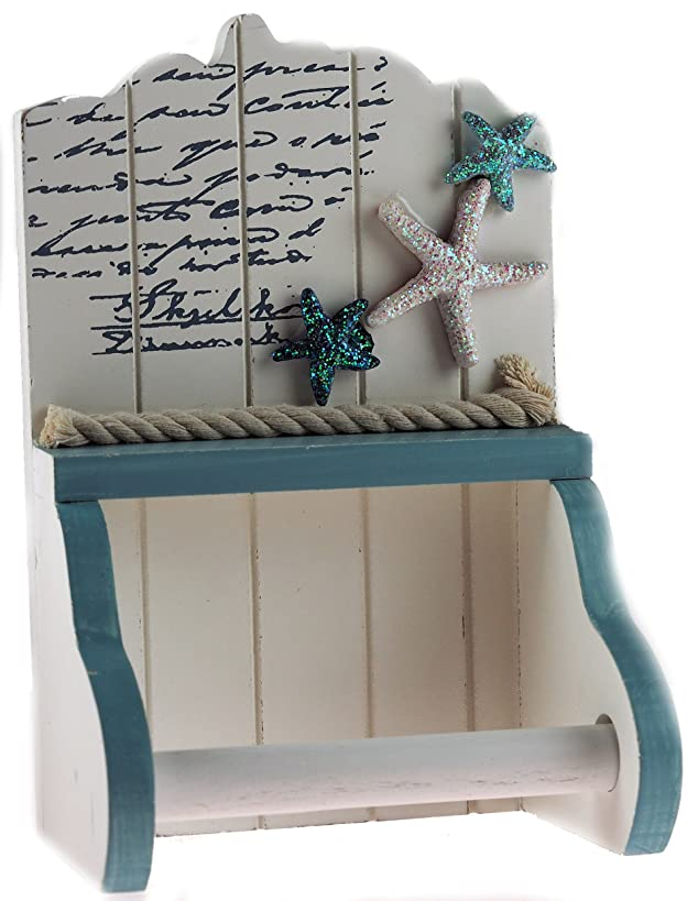 Nautical Blue White Beach Hut Bathroom Loo Toilet Roll Holder STARFISH