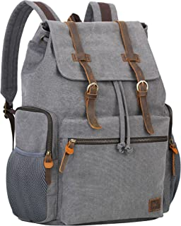 Wowbox Canvas Backpack Vintage Leather 15.6 Inch Laptop School Backpack Travel Rucksack