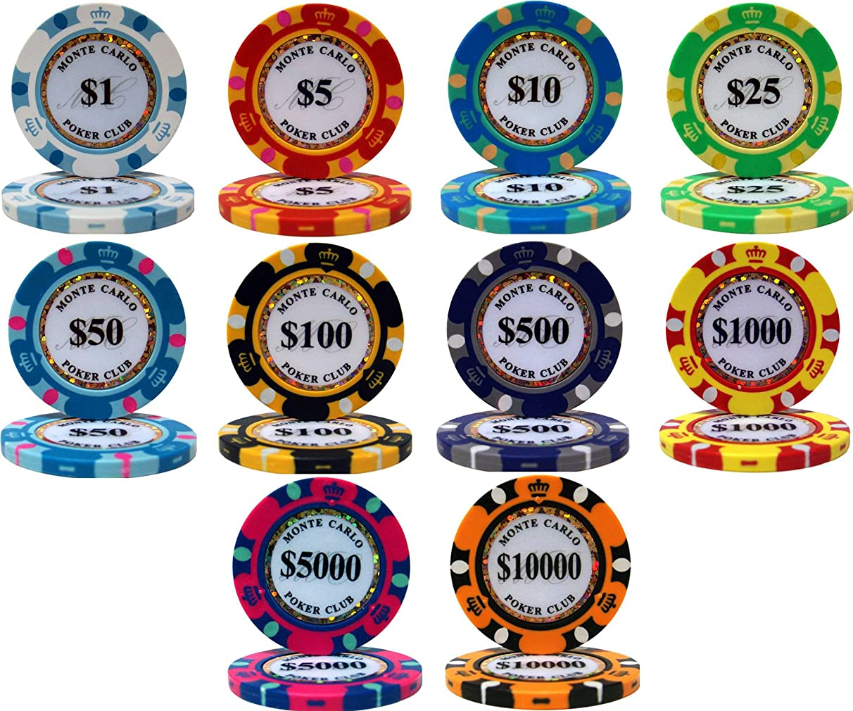 Monte Carlo 14gm Clay Poker Chip Sample Set - 10 New Chips