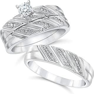 1/3ct His & Hers Diamond Trio Engagement Wedding Bridal Ring Set 10K White Gold