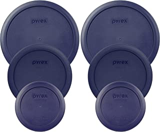 Pyrex (2) 7402-PC 6/7 Cup Blue (2) 7201-PC 4 Cup Blue (2) 7200-PC 2 Cup Blue Food Storage Dish Lids - 6 Pack