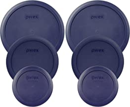 Pyrex (2) 7402-PC 6/7 Cup Blue (2) 7201-PC 4 Cup Blue (2) 7200-PC 2 Cup Blue Food Storage Dish Lids - 6 Pack