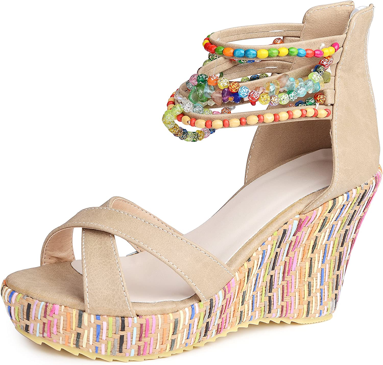 Catata Women Bohemian Beaded Platform Wedge Pump High Heel Sandals Apricot