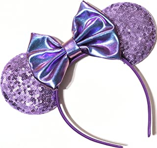 CLGIFT Purple minnie ears, Pick your color, Iridescent Minnie Ears, Silver gold blue minnie ears, Rainbow Sparkle Mouse Ears,Classic Red Sequin Minnie Ears (potion purple)