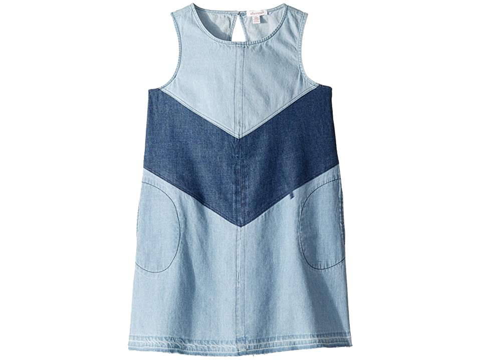 Ella Moss Girl 3 Tiered Denim Dress (Big Kids) (Medium Stone Indigo) Girl