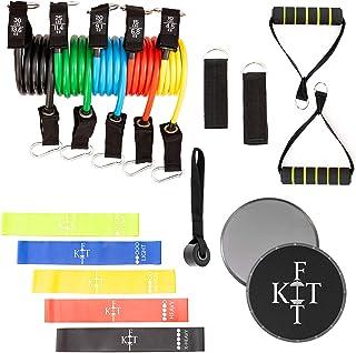 KITFit Resistance Band Set for Exercise (19 pcs): Carry Bag, Tube Resistance Bands, Loop Resistance Bands, Resistance Tube...