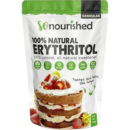 Erythritol Sweetener Granular - 1:1 Sugar Substitute, Keto - 0 Calorie, 0 Net Carb, Non-GMO (1 lb / 16 oz)