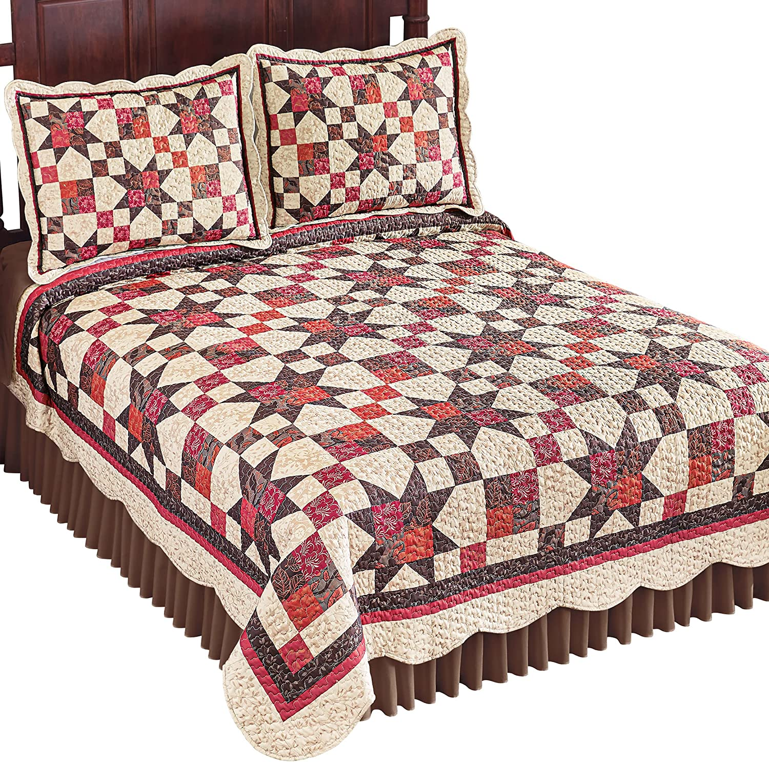 Reversible Classic Now on sale Star Patch Ranking TOP1 Quilt Taupe