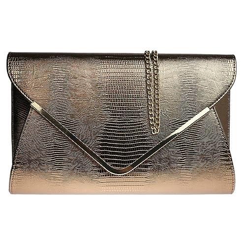 eca066286a Girly HandBags Animal Print Croc Flat Envelope Evening Clutch Bag Ladies