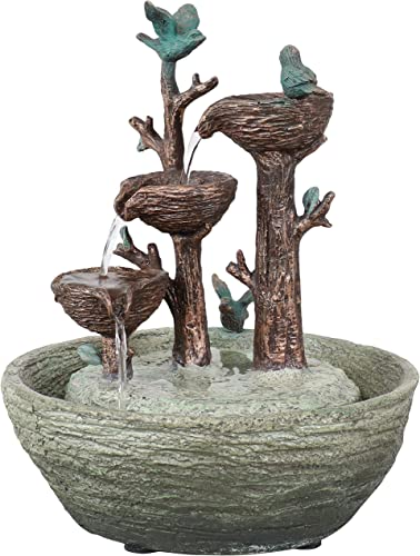 high quality Sunnydaze Perching Birds 3-Tiered Polyresin Indoor Tabletop Fountain wholesale - Modern Indoor Water Fountain Accent for Living Room, Office or Bedroom - Electric Submersible Pump -12 Inches outlet online sale Tall sale