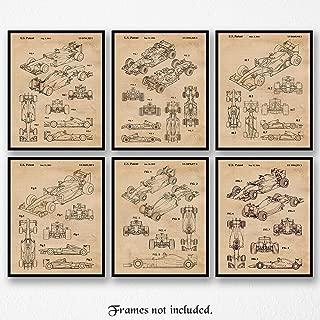 Original Ferrari F1 Indy Racing Patent Poster Prints, Set of 6 (8x10) Unframed Photos, Wall Art Decor Gifts Under 20 for Home, Office, Studio, Garage, Shop, Man Cave, College Student, Formula 1 Fan