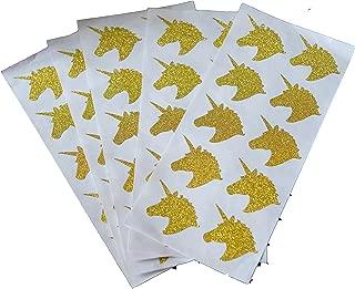Kate & Jake Set of 50 Unicorn Stickers, Gold Unicorn Stickers, Unicorn Labels