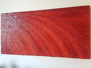 DORON ARTE QUADRO MODERNO ASTRATTO DIPINTO A MANO TELAIO GALLERY BORDI DIPINTI - TRAMONTO IN ARANCIONE - 40x80x4 cm -RIF91