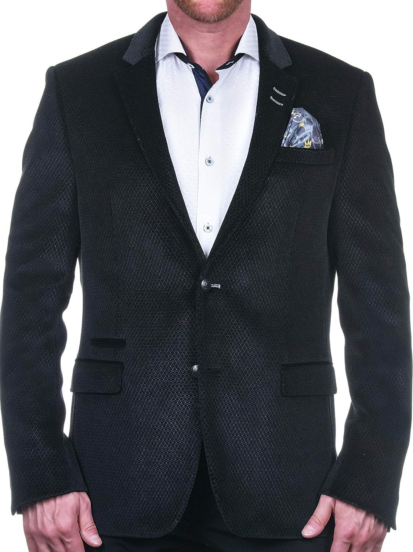 Maceoo Mens Designer Blazer - Night Out Stylish Sportswear - Blazer Socrate HexagonBlack Black - Tailored Fit