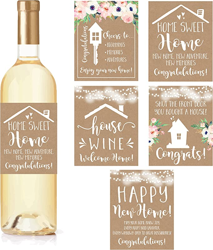 5 Rustic House Warming Presents New Homeowner Stickers Or Wine Label Gift Set Ideas Congrats Home Sweet Home Party Unique Real Estate Gifts From Agent For Client Congratulations