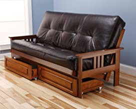 Toronto Futon Set Frame and Mattress Full Size Wood Finish w/ 8 Inch Innerspring Matt Includes Choice to add Drawers Sofa Bed Couch Sleeper (Frame, Matt and Drawers Set, Leather Bonded Dark Brown)