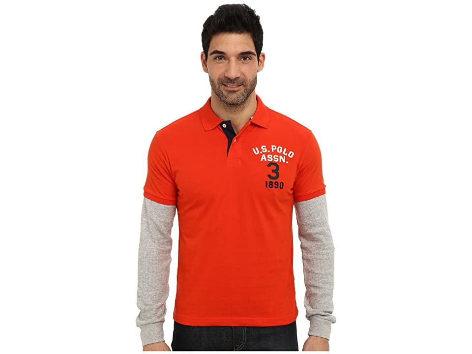 U.S. POLO ASSN. Long Sleeve Slim Fit Polo and Thermal Hang Down (Harvest Orange) Men