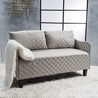Christopher Knight Home Aurelia Grey Pattern Fabric Loveseat