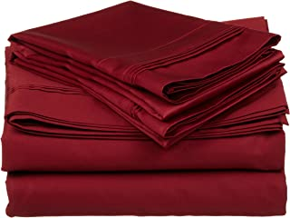 100% Egyptian Cotton 650 Thread Count, Twin XL 3-Piece Sheet Set, Deep Pocket, Single Ply, Solid, Burgundy