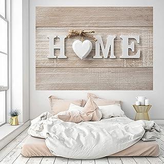 murimage Papel Pintado Home 3D 183 x 127 cm Incluye Pegamento corazón casa hogar madera escudo shabby chic sala de estar h...