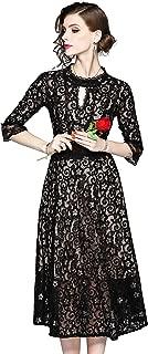 Women's Choker Neck 3/4 Sleeve Floral Lace Back Strap A line Party Dress