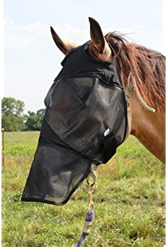 Horse Fly Mask Cover Ears Nose Pasture Trail Riding Sun Protection and Styles All Around Barn Stable