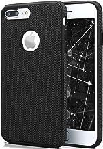 MoEx® Funda de Silicona con trozos de Tela Compatible con iPhone 7 Plus/iPhone 8 Plus | Buen Agarre - Noir