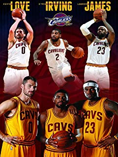 Mingki Cleveland Cavaliers Super Trio - Lebron James, Kevin Love, Kyrie Irving Poster - 18 × 24 Inch