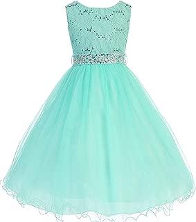 Glitter Sequined Bodice Double Layer Tulle Rhinestone Easter Flower Girl Dress