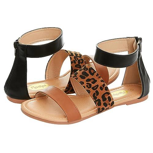 8c33fe512b66 Floopi Womens Summer Slide Ankle Strap Flat Sandal W/Zipper