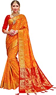 yellow red banarasi saree