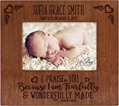 LifeSong Milestones Personalized Gift for Godparents from Godchild Baptism Photo Frame I am Fearfully and Wonderfully Made Picture Frame Holds 4x6 Photo (Cherry)
