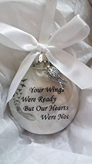 Your Wings Were Ready Memorial Christmas Ornament Sympathy Gift w/ Angel Wing Charm