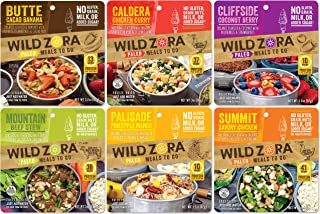 Wild Zora - Paleo Meals to Go - Variety (6-Pack) Includes Butte Cacao Banana, Caldera Chicken Curry, Cliffside Coconut Berry, Mountain Beef Stew, Palisade Pineapple Mango, Summit Savory Chicken