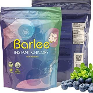Barlee - Coffee Alternative Beverage Blend (Instant Coffee Substitute), chicory root with blueberry, Pack of 2 (14.10 oz)