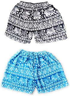 Fressia Fabrics Pure Rayon Printed Casual Free Size Shorts Sleepwear for Women and Girl Pack of 2