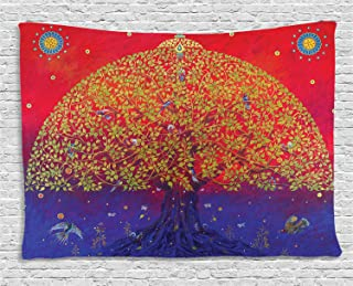 Ambesonne Ethnic Tapestry, Bodhi Tree of Life Themed Eastern Growth Artwork Print, Wide Wall Hanging for Bedroom Living Room Dorm, 60