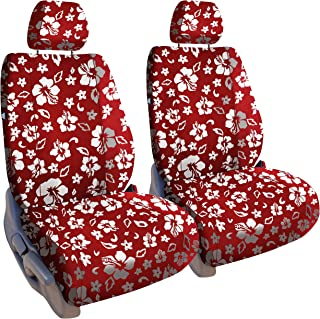 Front Seats: ShearComfort Custom Hawaiian Seat Covers for Jeep Cherokee (2014-2017) in Red for Buckets w/Adjustable Headrests and Passenger Fold Flat Seat and Under Cushion Storage