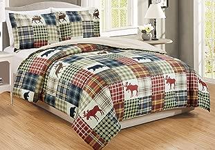 GrandLinen 4-Piece and 3-Piece Fine Printed Comforter Set Reversible Goose Down Alternative Bedding Twin, Full/Queen, King/Cal King Queen Red