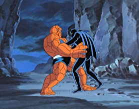 Black Panther Fantastic Four The Thing Signed Production Cel and Background 1995 Marvel