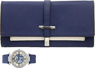 Women's Essentials - Matching Women's Watch & Colorful 2 Layer Design Wallet Gift Set - ST10234 Navy Blue