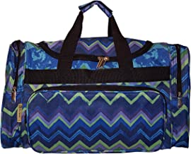 19 inch Fashion Multi Pocket Gym Dance Cheer Travel Carry On/Duffle Bag (Blue Zig Zag Print)