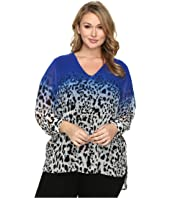 Calvin Klein Plus - Plus Size High-Low Printed V-Neck Top