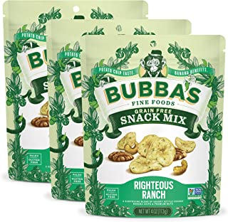 Bubba's Fine Foods Paleo Snack Mix   Righteous Ranch 4oz (Pack of 3)   Savory Vegan Banana Nut Mix