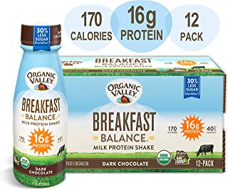 Organic Valley, Dark Chocolate Milk Protein Shake, Healthy Snacks, Breakfast Balance, 11oz (Pack of 12)