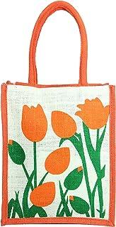 FabSeasons Floral Jute Lunch Bag (Orange)